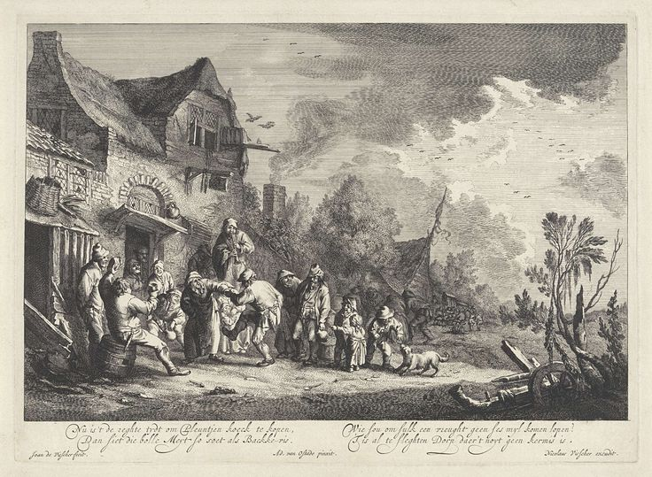 Jan de Visscher | Dorpskermis, Jan de Visscher, Adriaen van Ostade, Nicolaes Visscher (I), 1643 - 1709 | Onder begeleiding van het spel van een fluitspeler en het toeziend oog van omstanders danst een koppel voor een herberg. Op de achtergrond vermaken groepjes mensen zich.