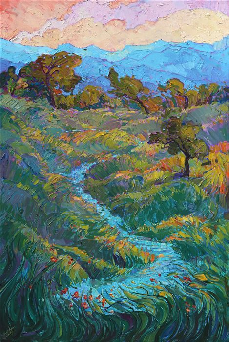 Winding Oaks - Modern Impressionism | Contemporary Expressionism Oil Paintings Landscapes for Sale by Erin Hanson