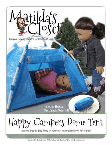 Matilda's Closet Happy Camper Dome Tent Doll Accessories Pattern 18 inch American Girl Dolls | Pixie Faire