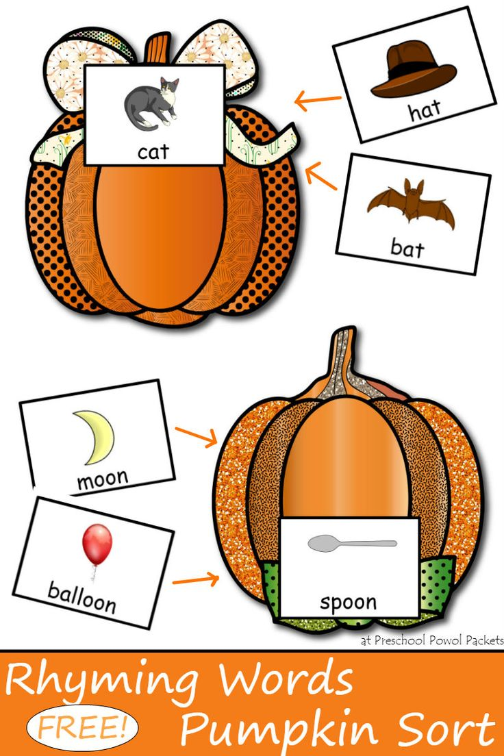 A fun way to practice rhyming words and focus on ending sounds with your kiddos in preschool, kindergarten, and first grade! Bonus: you sort words into pumpkins!!