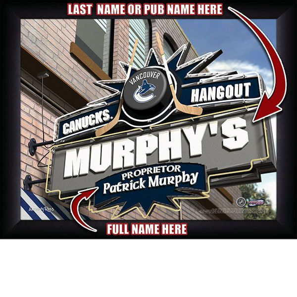 Vancouver Canucks NHL Hockey - Personalized Vancouver Canucks Pub Hangout Print / Picture. Now, with our Personalized NHL Sports Pub Hangout Print, your favorite fan can become the Proprietor of THEIR OWN Sports Bar! This exciting gift is perfect for any NHL hockey fan. Optional framing with mat is available. Perfect for gifts, rec room, man cave, bar, office, etc.  (http://www.oakhousesportsprints.com/vancouver-canucks-pub-hangout-print/)