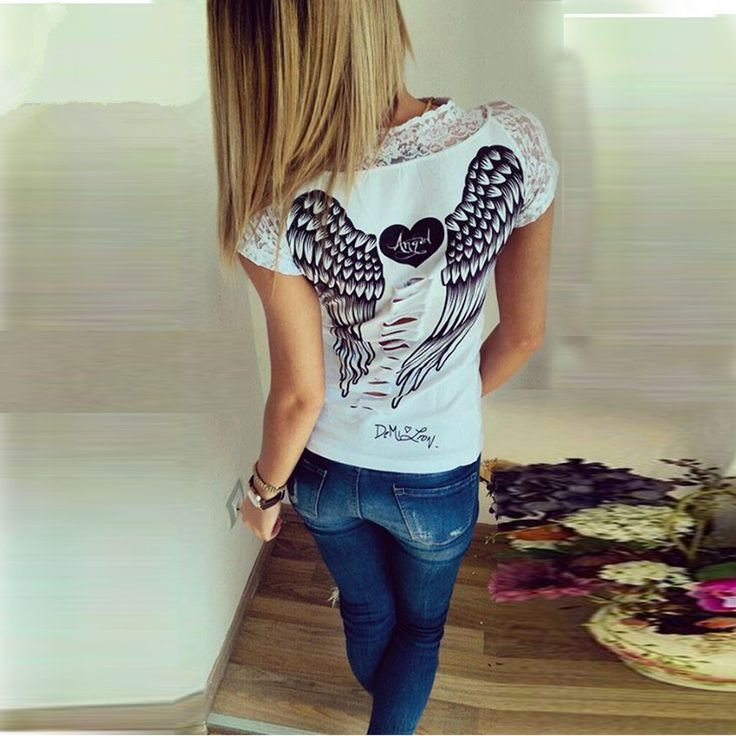 Angel Wings Tshirt Black with white wings and White with Black angel wings Lace on neckline and sleeves Small to X-Large