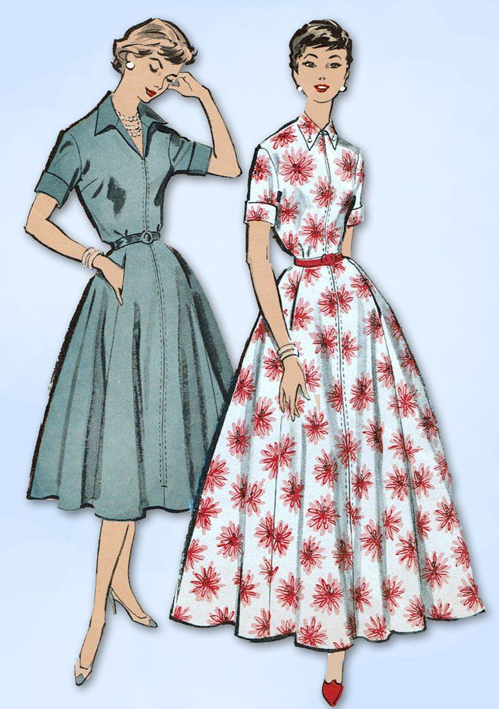 1950s Vintage Advance Sewing Pattern 8666 Misses Housecoat or Dress Size 32 Bust