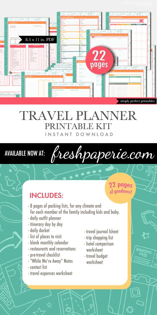Printable Travel Planner - Vacation Planning Sheets - Instant Download | Visit me at freshpaperie.com to sign up for my newsletter and receive FREE printables in your inbox regularly.