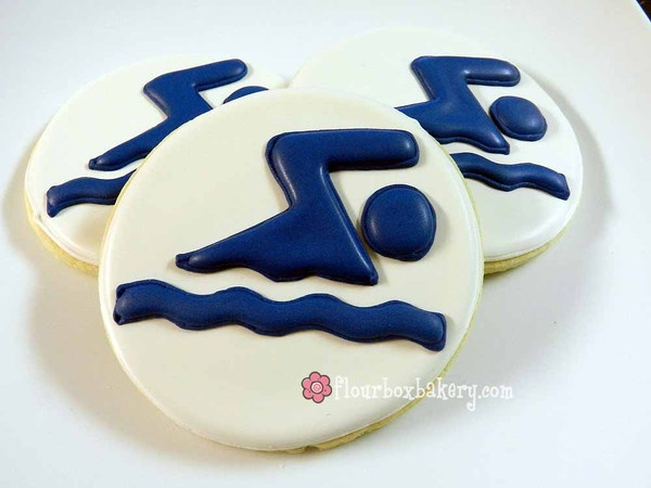 Sports Cookies by Flour Box Bakery — Tidbits: Cookies Ideas, Decor Ideas, Cookies Decor, Flour Boxes, Decor Cookies, Cookies Cookies, Swim Team, Boxes Bakeries, Swim Cookies