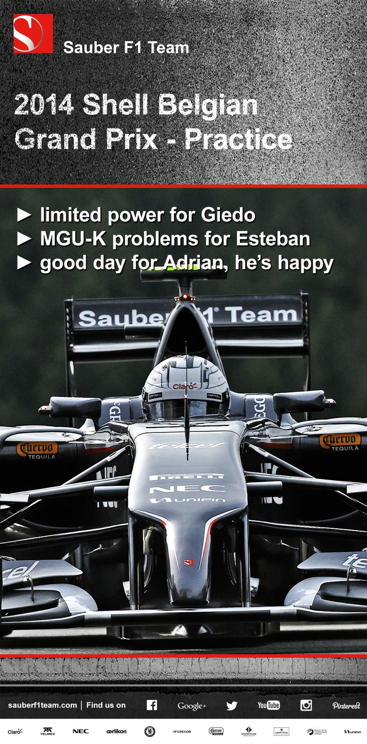 Sauber F1 Team, Belgian Grand Prix, practice ► limited power for Giedo ► MGU-K problems for Esteban ► good day for Adrian, he's happy ► more on www.sauberf1team.com #F1 #SauberF1Team #BelgianGP #FormulaOne #Formula1 #motorsport