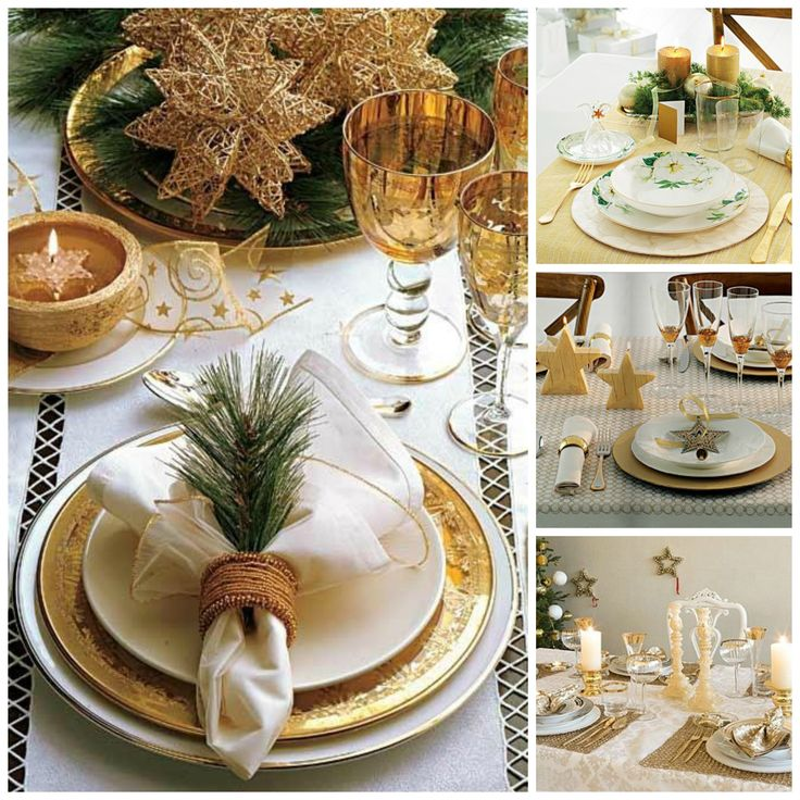 Mesa de Navidad en dorado. Decoración navideña