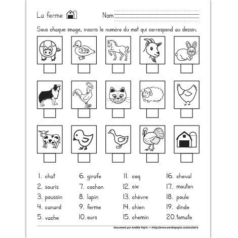 Fichier PDF téléchargeable En noir et blanc seulement 1 page Niveau 1re année  L'élève trouve le mot qui correspond à chaque image. Il inscrit le numéro du mot sous l'image. Thème: la ferme