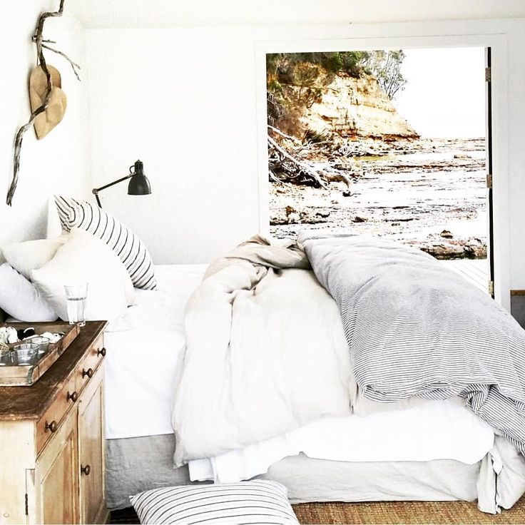 Warm Weather Dreams #summer #weather #interior #inspo #bedroom #lust #ocean #breeze #country #colors #farmhouse #bedding #rustic #chic   @tess.newman.morris @satelliteisland