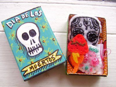 76 best curiosity box images on pinterest art boxes for Day of the dead arts and crafts