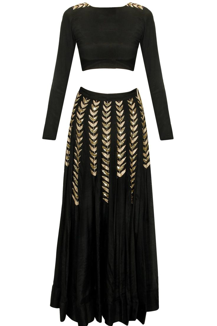 Black ferns embellished crop top and lehenga skirt available only at Pernia's Pop Up Shop.#pratyushagarimella #newcollection #festive #designer #clothing