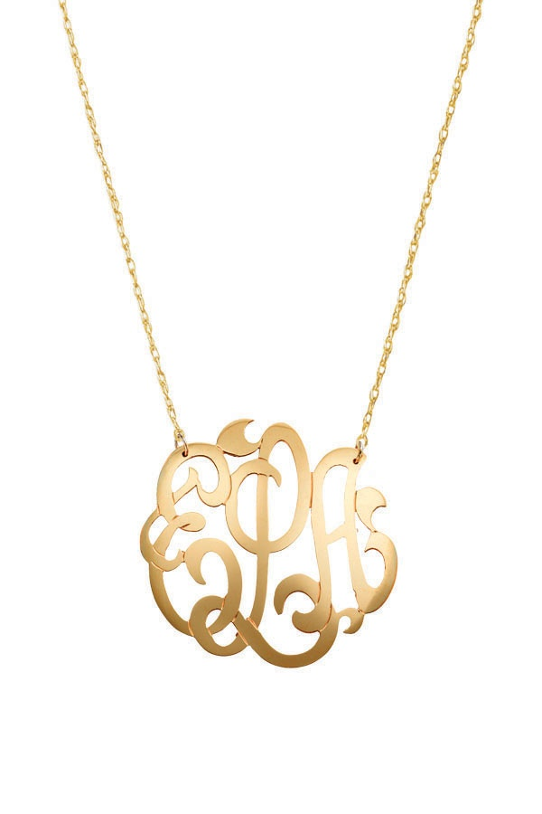 Monogram jewelry 93 pinterest monogram pendant with 18 rope chain can be made in 14kt yellow white mozeypictures Image collections