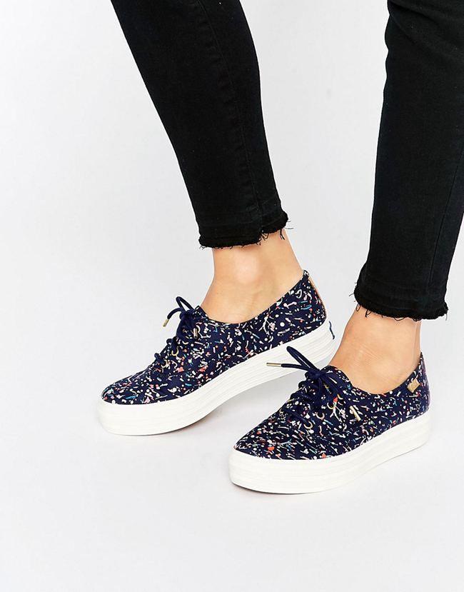 Keds Liberty Confetti Print Platform Trainers - Multi Keds Women Sneakers D14e4639