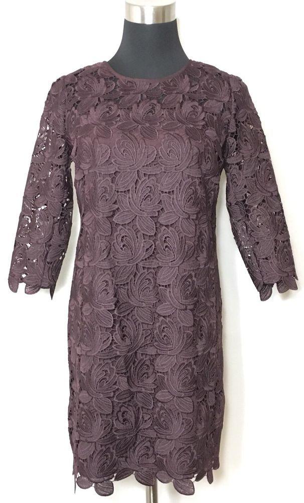 Ann Taylor Loft Dress Women's Lace Brown Soft Fig Shift Petite New NWT Sz 0P #AnnTaylorLOFT #ShiftDress #AnyOccasion