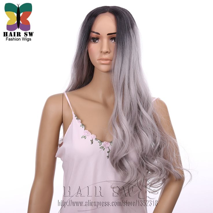 I love this wig. Look at how soft and silky it is. Gray Synthetic Lace Front Wig Ombre Wavy Black Grey Dark Root Resistant Fiber 2 Tones Hand Tied hair Curly Wig For Women