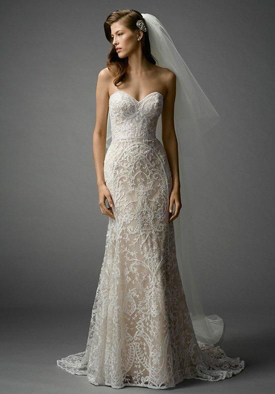 Glamorous and modern, this strapless A-line gown features all over Beaded Embroidery place in an ornate pattern for a figure flattering look. Sweep train.