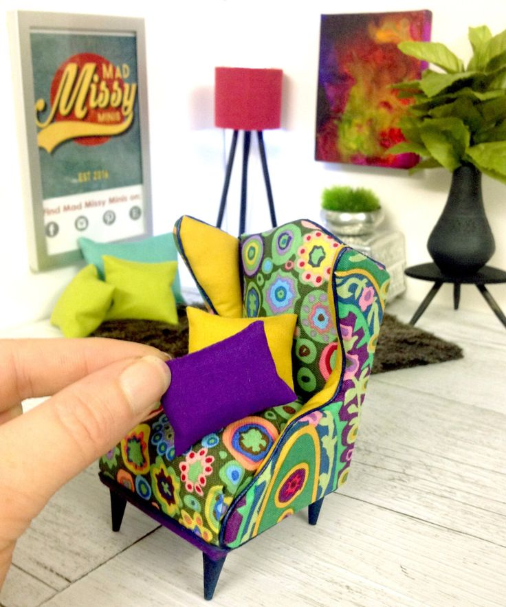 1:12 Scale Modern Miniature Furniture - Kaffe Fassett Wingback Chair - Perfect for the Stylish Dolls House or Room Box - OOAK by MadMissyMinis on Etsy https://www.etsy.com/au/listing/400308187/112-scale-modern-miniature-furniture