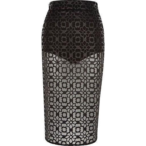 Encaje Negro recubierto escarpados falda lápiz - faldas tubo / lápiz - faldas - mujeres