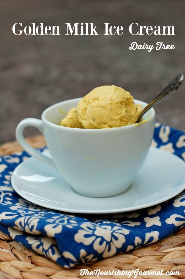 Sweet and creamy coconut milk is spiced with turmeric, ginger, black pepper, cardamom, vanilla and cinnamon for a lovely chai flavor, and then sweetened with honey. It makes up a gorgeous smooth dairy-free ice cream. -- The Nourishing Gourmet