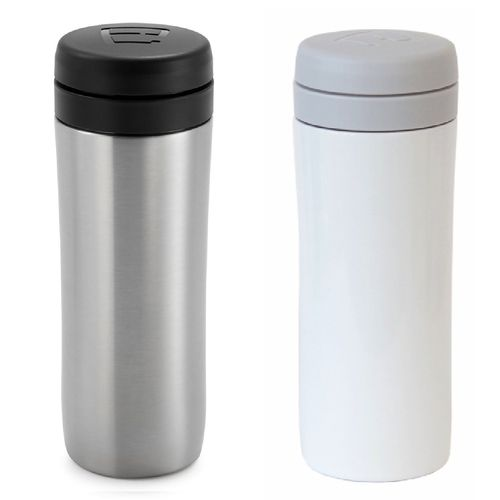 Espro Travel Press Brushed Stainless & Bright White w/Tea Filter Insulated Mug