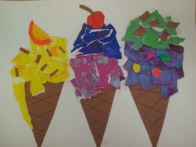 Leuke techniek om ijsjes mee te knutselen: scheur snippers gekleurd papier (sits of bijvoorbeeld uit een tijdschrift) en plak die op een hoorntje van bruin papier.