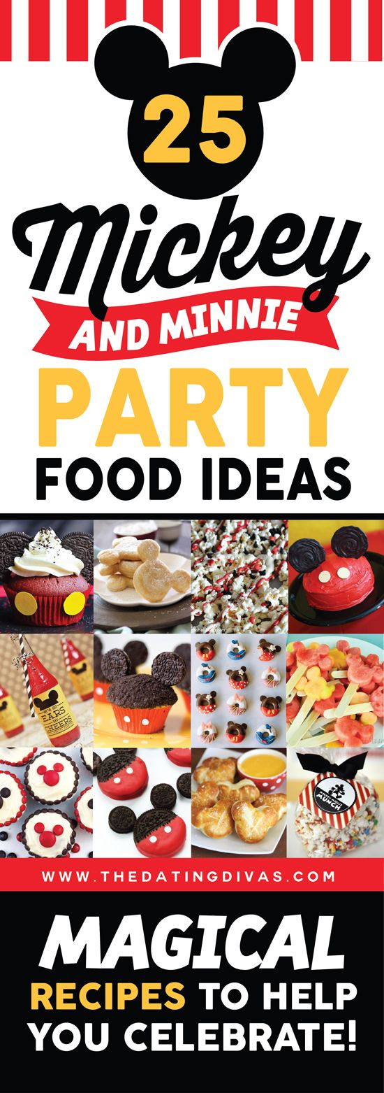 Check out these FUN Mickey and Minnie Mouse party food ideas! They are perfect for a Disney or Mickey Mouse Clubhouse themed party! www.TheDatingDivas.com