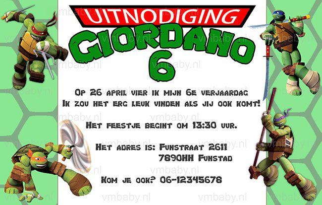 Gepersonaliseerde Ninja Turtles uitnodigingen voor het feestje . Niet duur