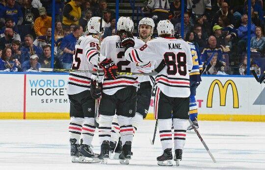 Shaw, Keith, Kane, and Seabrook celebrate Keiths goal. #Blackhawks #Playoffs #2016