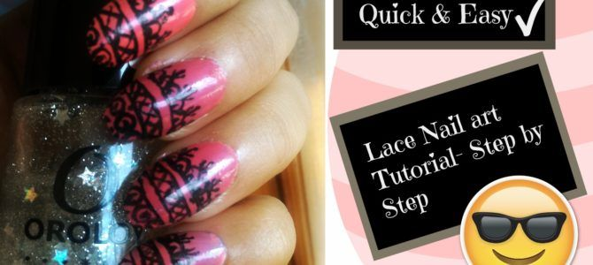 Lace Design Nail art Tutorial – Step by step at home