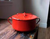Dansk Kobenstyle apple red enamel dutch oven, Dansk enamel cookware, Dansk red pot, red enamelware, vintage dansk pot, red dutch oven pot