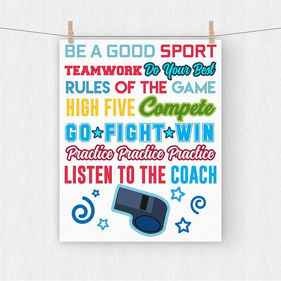 Wall Art Prints Sports Nursery Boy Room Decor Rules Of The Game Sign Football Baseball Basketball Soccer Kids Sports Decor -CAJP16 by ChimpArts