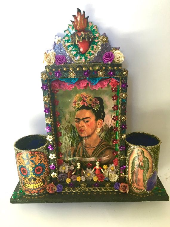 On sale Frida kahlo themed Mexican wooden shrine by TheVirginRose
