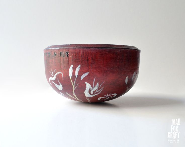 Dark Red Bowl with a Bird Inspired by the frescoes of Santorini, Industrial Style Metal Bowl by MadForCraftGR on Etsy
