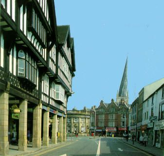 The town of Chesterfield in Derbyshire, England. In the distance St Mary's and All Saints church built in the 14th century, its also known as The Crooked Spire church because of its leaning spire