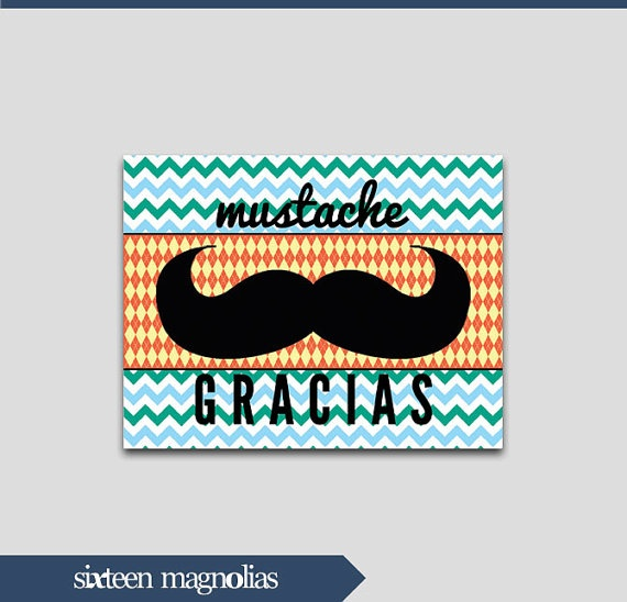 Little Gentleman Mustache Thank You Printable by sixteenmagnolias, $5.00