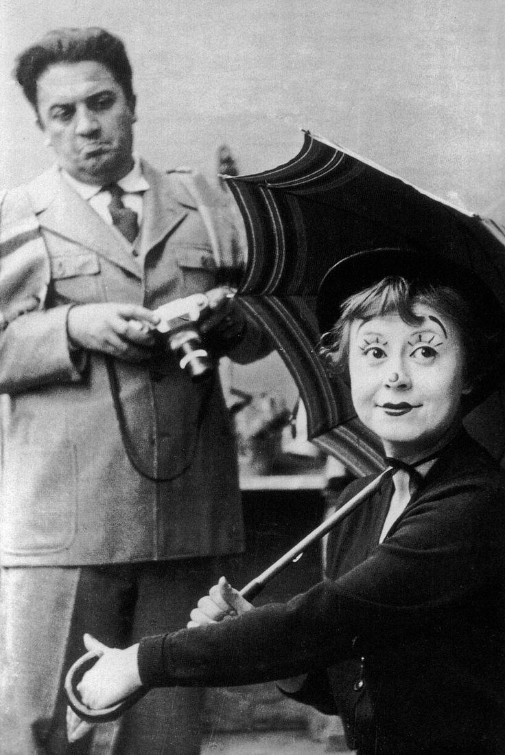 Federico Fellini and Giulietta Masina on the set of La Strada, 1954.