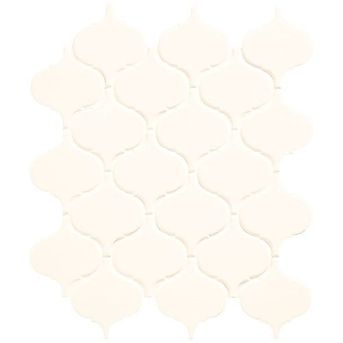 This white arabesque patterned mosaic, part of the Daltile Finesse collection, is a uniquely sized interpretation of the classic Moroccan-style tile. It provides a distinct pattern in a bright white hue and is perfect for incorporating new shapes and lines in bathrooms, kitchens and other spaces that are begging for dynamic design.