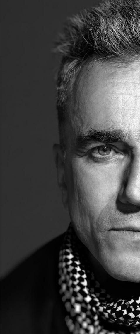 Daniel Day-Lewis. Photographer unknown to me. Love the half-face split, but mostly it allows you to just focus on the details of his visage.
