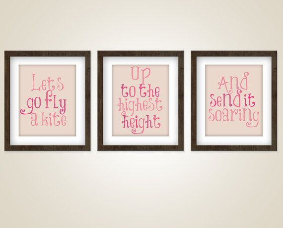 Mary Poppins Movie Quote art - Set of three 8 x 10 Prints  - Fly a kite - Julie Andrews - Girls room art on Etsy, $37.00