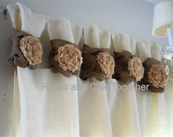 Burlap Curtains Tea dyed rosettes Wide Tabs by RusticChicTogether