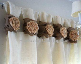 Articoli simili a Burlap Drop cloth Wide ruched tabs curtains- Tea dyed rosette su Etsy