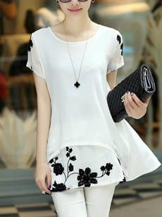 Round Neck Patchwork Embroidery Raglan Sleeve Blouse
