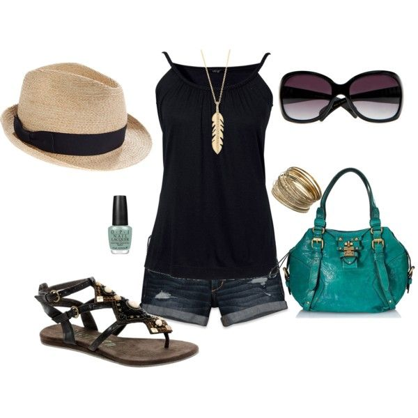 Black and teal: Summer Fashion, Summer Vacation, Summer Looks, Vacations Outfit, Cute Summer Outfit, Styles Summer, Styles Clothing, Cute Outfit, Summer Clothing