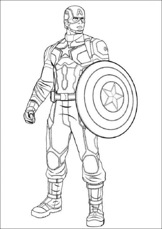 Avengers Para Colorear Con Imagenes Capitan America Dibujo