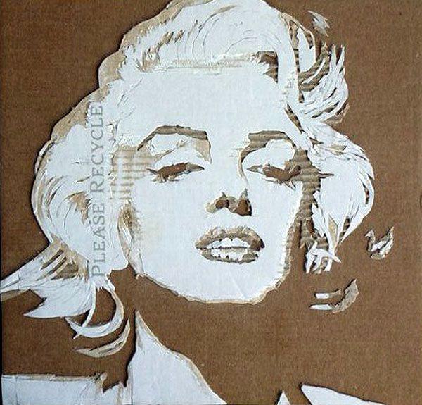 Giles Oldershaw cardboard portraits- Marylin Monroe