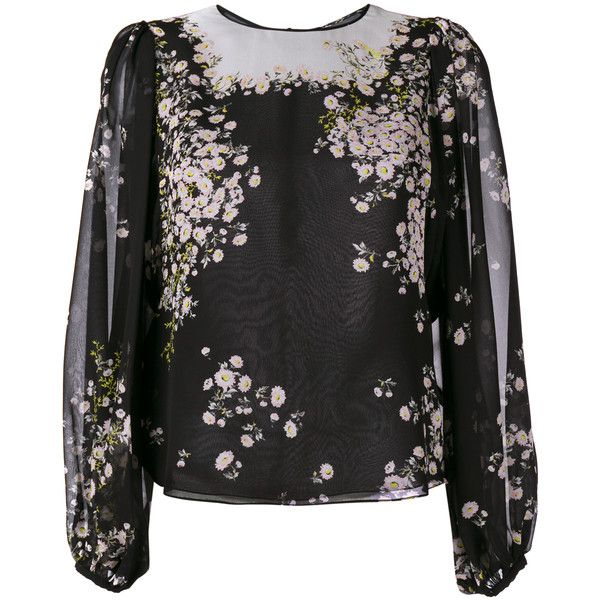 GIAMBATTISTA VALLI Silk Floral Blouse (43 830 UAH) ❤ liked on Polyvore featuring tops, blouses, black blouse, long blouses, colorful blouses, black floral blouse and silk blouses