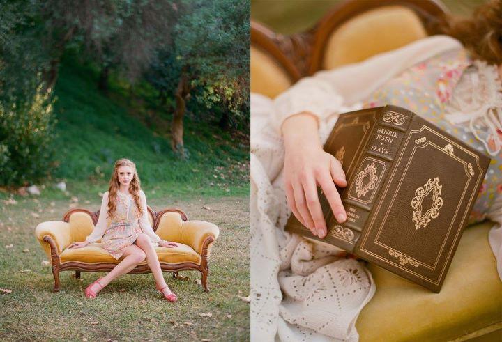 на кушетке и с книгой