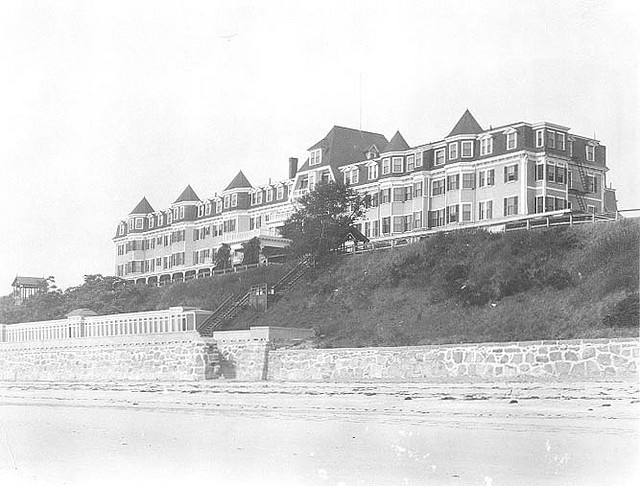 """Hotel Preston, Swampscott, Massachusetts    """"Located near the Marblehead line, this was a summer destination for many at the turn of the century, it was replaced by the more modern and less elegant Preston Beach Inn. It is now the site of a condominium complex"""".--Swampscott Historical Commission. This hotel was razed by fire in 1957."""
