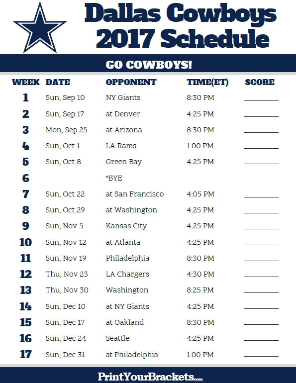 2017 Dallas Cowboys Football Schedule