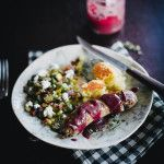 grilled sausage with herbed muscadine sauce + roasted corn & okra with goat cheese